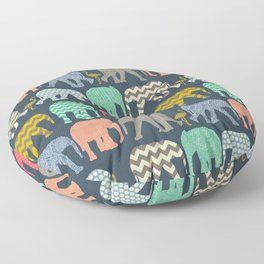 baby elephants and flamingos Floor Pillow