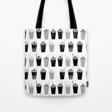 Coffees - black and white iced coffee pattern print cafe mocha chocolate dessert sugar sweet minimal Tote Bag