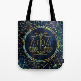 Libra Zodiac Gold Abalone on Constellation Tote Bag