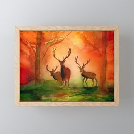Stags in Autumn Woodland in the Fall Watercolor Print Framed Mini Art Print