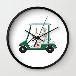 Old Timer Skeleton In Golf Cart Discovers Light Beer graphic Wall Clock