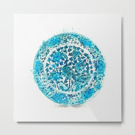 A BLUE AND WHITE 'PEACOCK AND PEONY' DISH MING DYNASTY, 15TH-16TH CENTURY watercolor by Ahmet Asar Metal Print