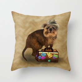 Traveller // quokka Throw Pillow
