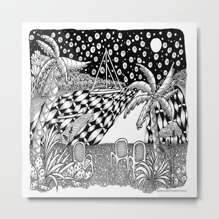Sailboat Night at Sea - Black and White Zentangle Illustration Metal Print