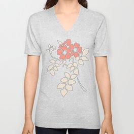 FLORAL IN BLUE AND CORAL Unisex V-Neck