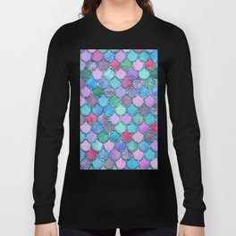 Colorful Teal Glitter Mermaid Scales Long Sleeve T-shirt