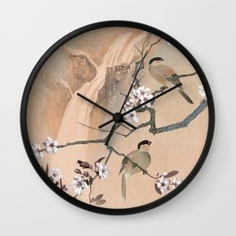 Cherry Tree And Two Birds Wall Clock