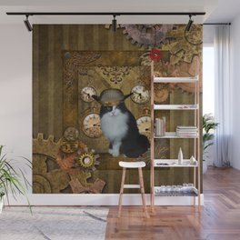Funny cat with steampunk hat Wall Mural