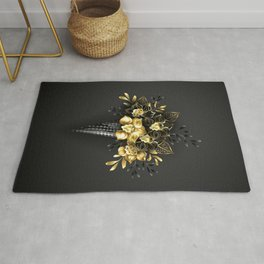 Waffle Cone with Black Golden Orchids Rug