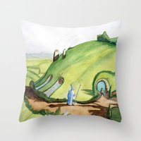 the hobbit Throw Pillows featuring The Hobbit by Emily