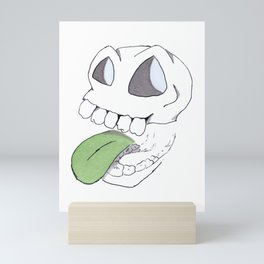Slappy Skull - silly doodle and pattern Mini Art Print
