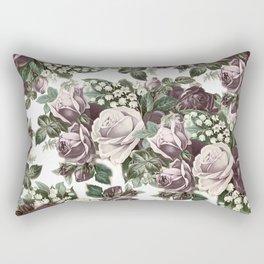 Vintage bohemian burgundy white roses floral Rectangular Pillow