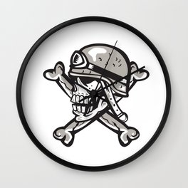 Skull Military Helmet Crossed Bones Retro Wall Clock