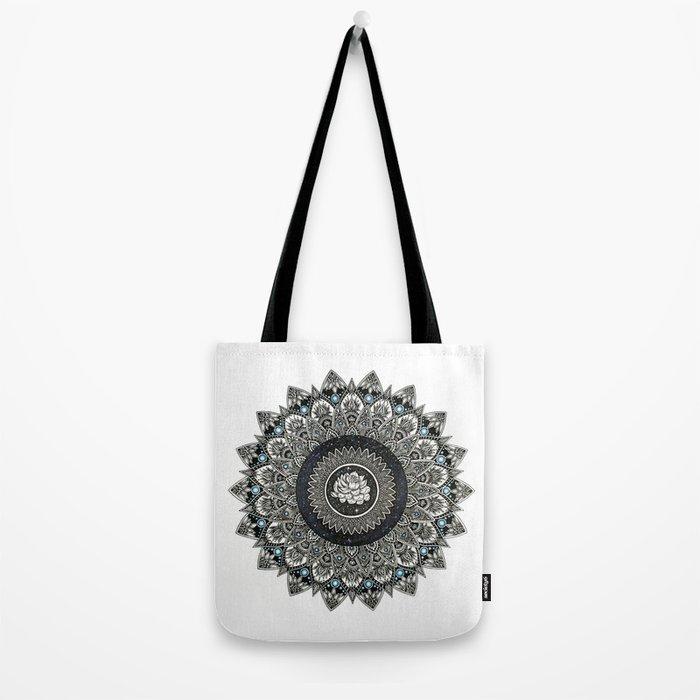Black and White Flower Mandala with Blue Jewels Tote Bag