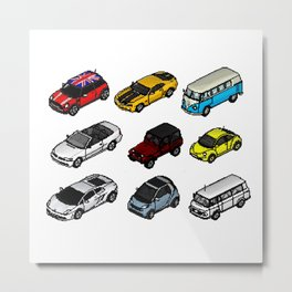 cars collection 01 isometric pixel arts Metal Print