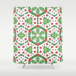 Holly Jolly Christmas Wreath Mandala (Small Pattern) Shower Curtain