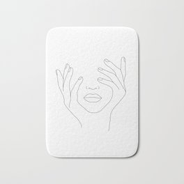 Minimal Line Art Woman with Hands on Face Bath Mat