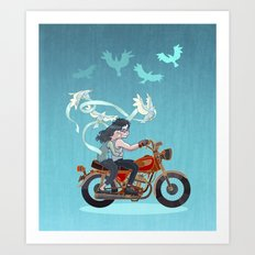 Motorcycle Couple Art Print