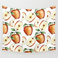 vegetarian Wall Tapestries featuring Apples by Julia Badeeva