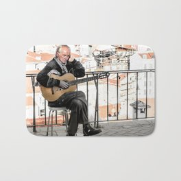 The guitarist, Lisbon, Portugal Bath Mat