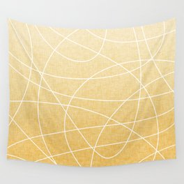Scribble Linen - Sunflower Yellow Wall Tapestry