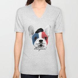 French Bulldog says bonjour - ALT Unisex V-Neck