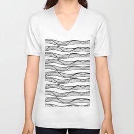 White waves Unisex V-Neck