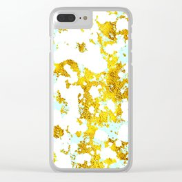 Elegant Marble and Gold Textures With Blue Splashes Clear iPhone Case
