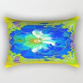 Cerulean Blue Pansy Yellow Abstract & Butterflies Rectangular Pillow
