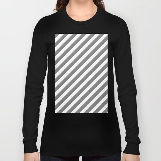 Diagonal Stripes (Gray/White) Long Sleeve T-shirt