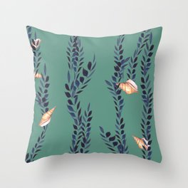 Watercolor shells with seaweed Throw Pillow