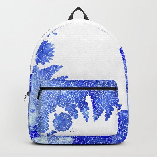 Blue Floral Pattern 04 Backpack