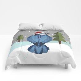 Winter Bluejay Comforters