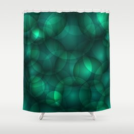 Luminous lead soap circles and volumetric cobalt bubbles of air and water. Shower Curtain