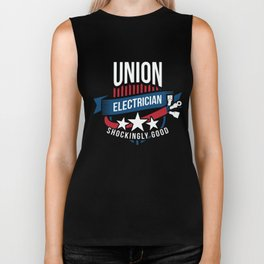 IBEW Union Electrician Gift for Electrical Workers and American Labor Unions  Biker Tank