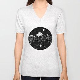 Moon Mountains Unisex V-Neck