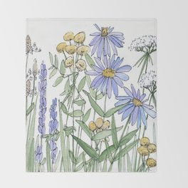 Asters and Wild Flowers Botanical Nature Floral Throw Blanket