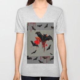 GREY ART OF FLYING BLACK BATS BLOODY  HALLOWEEN PARTY Unisex V-Neck