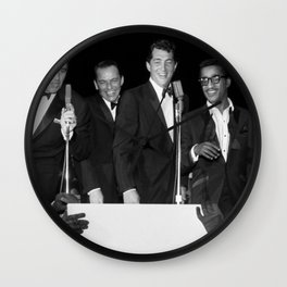 Peter Lawford, Frank Sinatra, Dean Martin, Sammy Davis Jr. and Joey Bishop singing from cue cards. Wall Clock