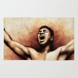Ali The Greatest - Typographic portrait of boxing legend Rug