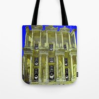 old school Tote Bags featuring Old School by Nicholas Bremner - Autotelic Art