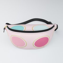 Pink and Teal Gold Framed Polka Dots Fanny Pack