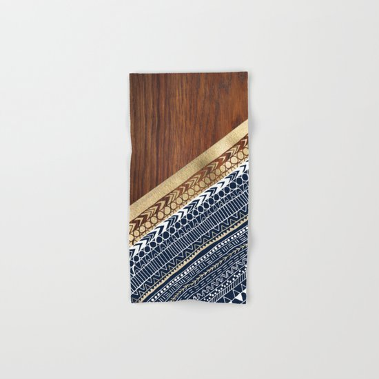 Navy & Gold Tribal on Wood Hand & Bath Towel