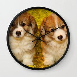 Pembroke Welsh Corgi Puppies Wall Clock
