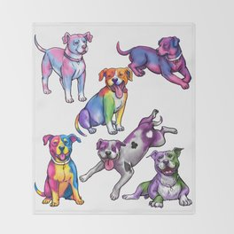 Gay Pride Pups Throw Blanket