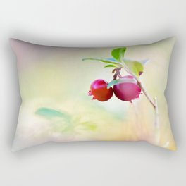 Macro shot of cowberry in forest Rectangular Pillow