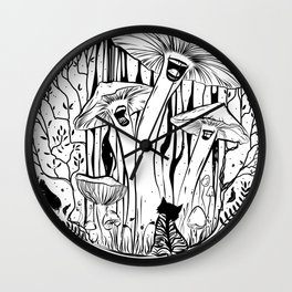 The Singing Mushrooms & The Zebra Cat Wall Clock