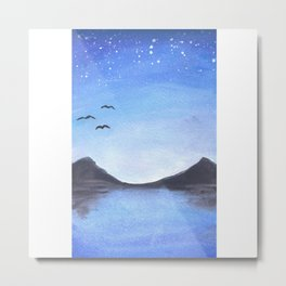 Mountains and Lake Landscape - Twilight Metal Print