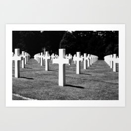 Normandy Cemetery Perspective in Greyscale Art Print