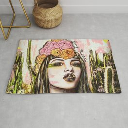 modern bohemian art heavily meditated Rug